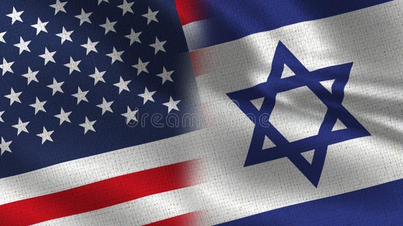 EUA Israel Realistic Half Flags Together ilustração stock
