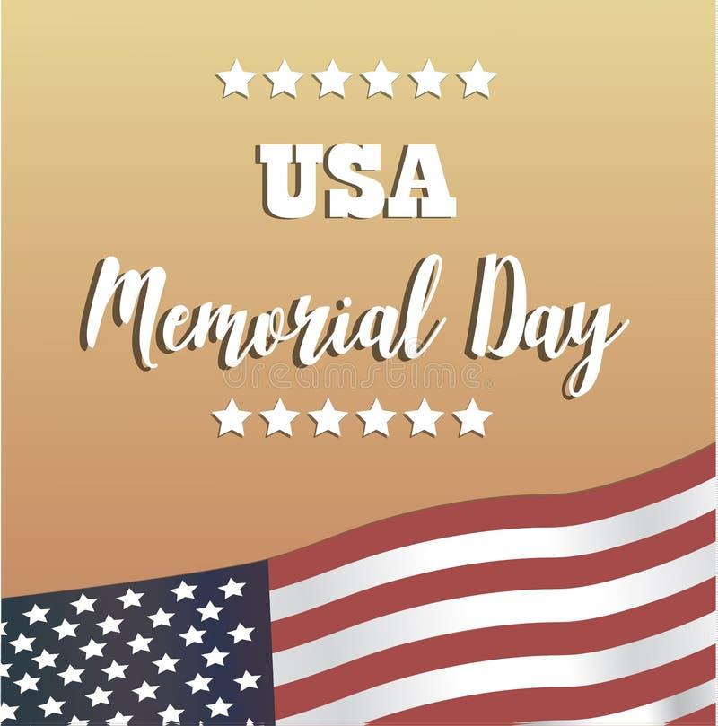 EUA Memorial Day Cartão feliz de Memorial Day do vetor ilustração royalty free