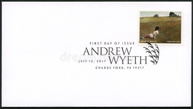 EUA - 2017:mostra o Mundo de Christina, Andrew Newell Wyeth 1917-2009, Ceremony Memento ilustração stock