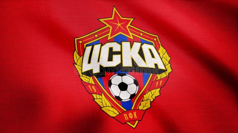 EUA - NEW YORK, o 12 de agosto de 2018: A bandeira de CSKA Moscou está acenando A bandeira de ondulação com futebol de CSKA Moskv imagens de stock royalty free