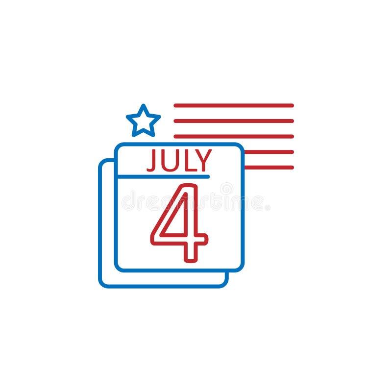 EUA, 4ns de julho, ícone do calendário Elemento do ?cone da cultura dos EUA Linha fina ?cone para o projeto do Web site e o desen ilustração do vetor