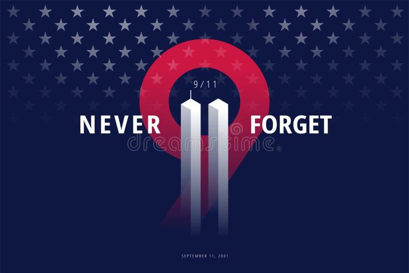 9/11 EUA nunca esquecem o 11 de setembro de 2001 Cargo conceptual do vetor ilustração stock