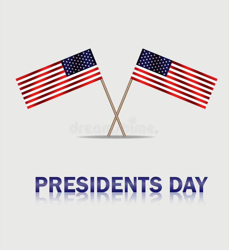 EUA que acenam bandeiras ao dia dos presidentes Bandeira de Presidenta no fundo cinzento Vetor eps10 ilustração do vetor