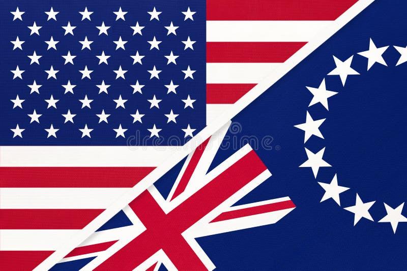 EUA vs. bandeira nacional das Ilhas Cook de têxteis Relação entre os países da América e da Oceânia imagem de stock