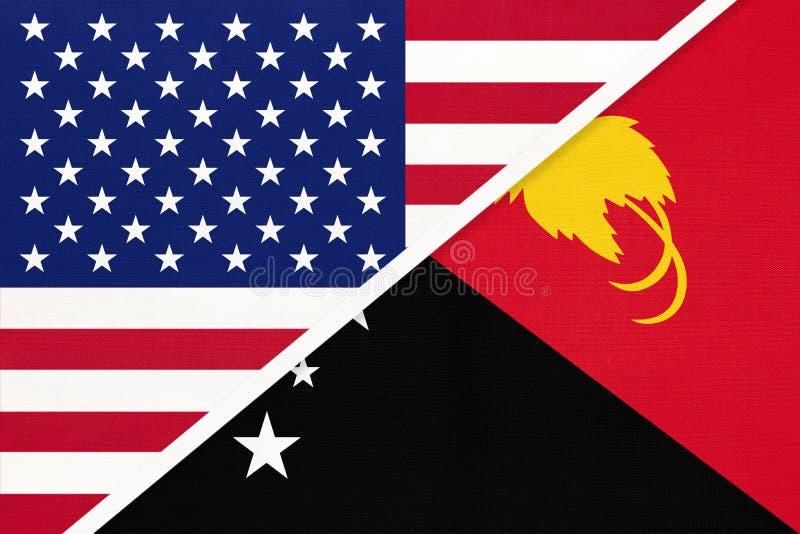 EUA vs Papua-Nova Guiné bandeira nacional do têxtil Relação entre os países da América e da Oceânia foto de stock
