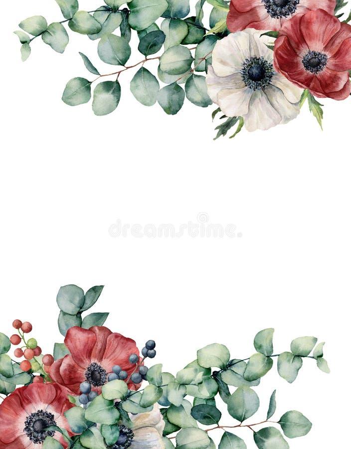 Eucalipto da aquarela e cartão floral da anêmona Flores vermelhas e brancas pintados à mão, folhas do eucalipto isoladas no branc ilustração stock