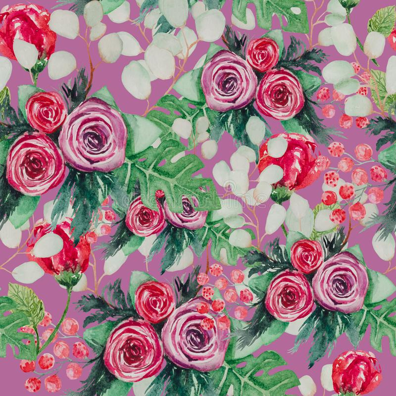 A seamless watercolor flower pattern that contains the beautiful flowers of Shimadaijin peonies, royalty free illustration