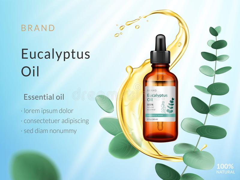 Eucalyptus essential oil ads. Cosmetic product. Liquid splash with branch and eucalyptus leaves isolated on blue sky stock illustration