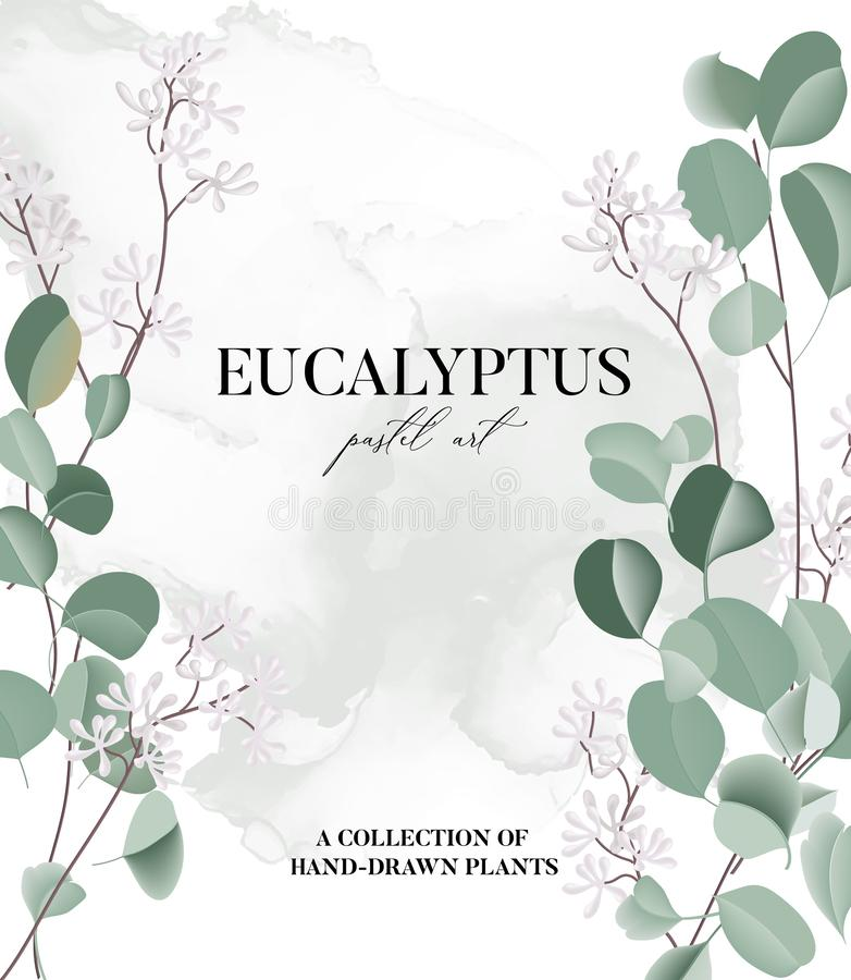 Free Eucalyptus Floral Watercolor Art Wedding Card, Hand-drawn Vector Concept With Liquid Flower And Leaves. Realistic Greeting Royalty Free Stock Images - 168242309