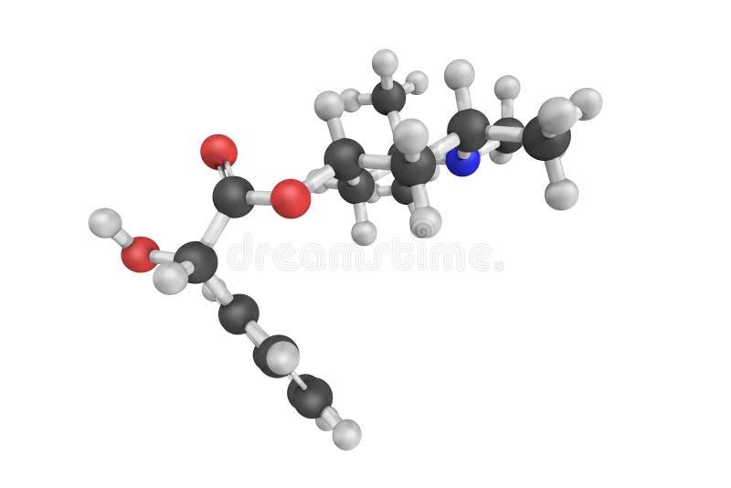 Eucatropinewaterstofchloride, een biochemisch koolhydraat 3d model stock foto's