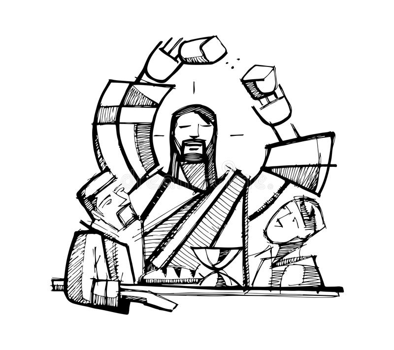 Eucharist shared Bread stock illustration