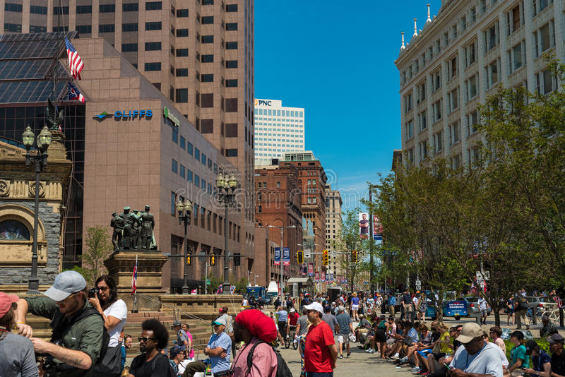 Euclid Ave crowds royalty free stock photography