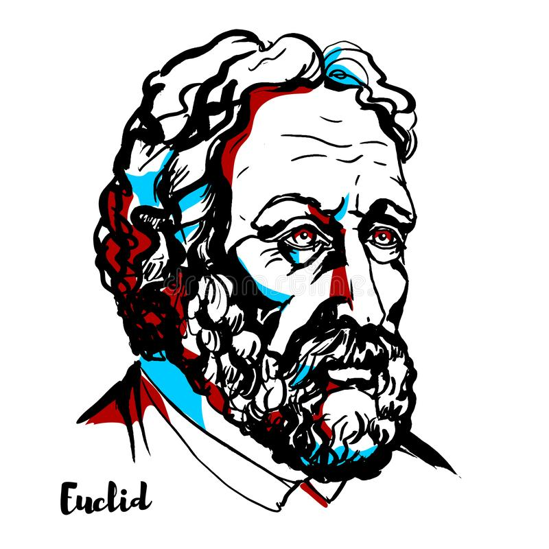 Euclid Portrait. Euclid engraved vector portrait with ink contours. Greek mathematician, often referred to as the `founder of geometry` or the `father of royalty free illustration