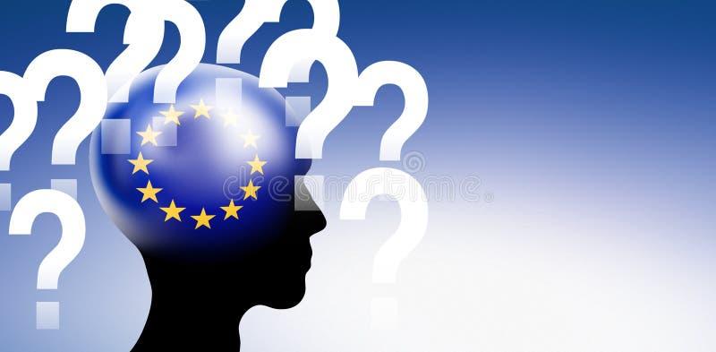 Euflagga i ett huvud med frågor royaltyfri illustrationer
