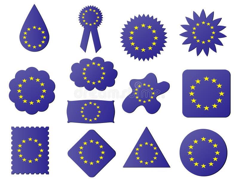 euflaggaetikett royaltyfri illustrationer