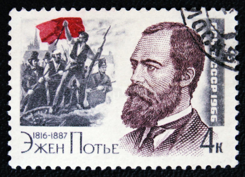 Eugene Edine Pottier, circa 1987. MOSCOW, RUSSIA - JANUARY 7, 2017: A stamp printed in USSR devoted to French revolutionary socialist, poet, freemason and stock image