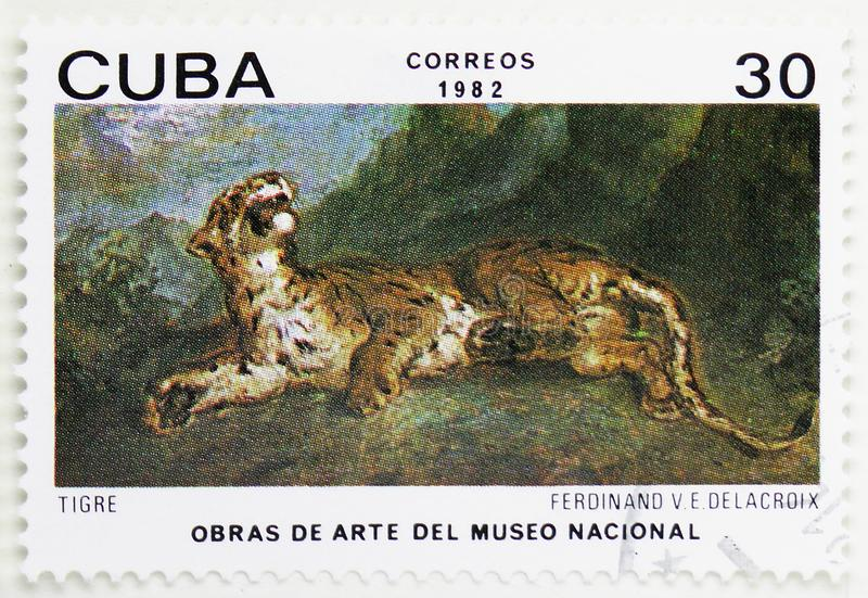 Eugene Ferdinand Victor Delacroix, \'Tiger\', Paintings from the National Museum serie, circa 1982. MOSCOW, RUSSIA - JULY 25, 2019: Postage stamp printed in Cuba stock image
