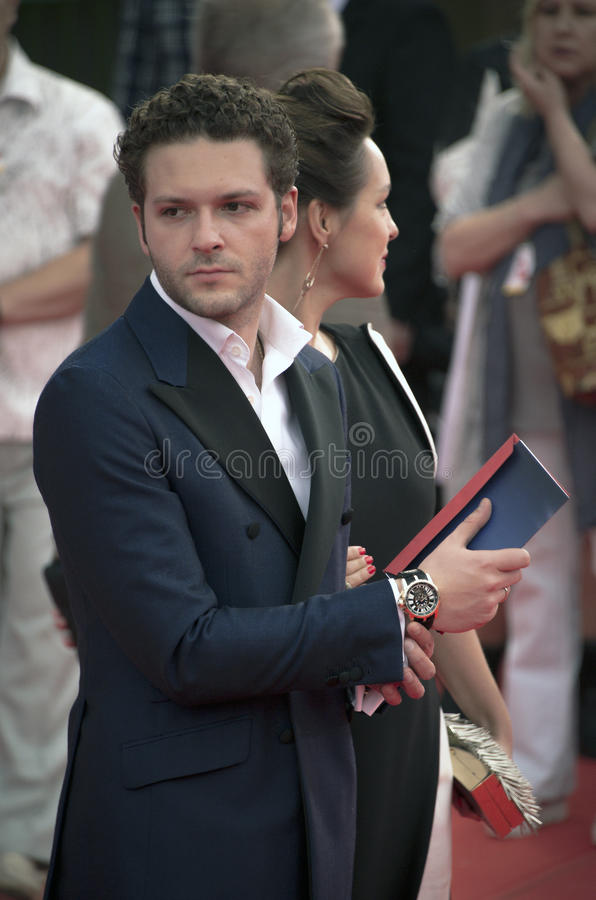 Eugene Kryukov on the red carpet before the opening 37 of the Moscow International film Festival royalty free stock photo