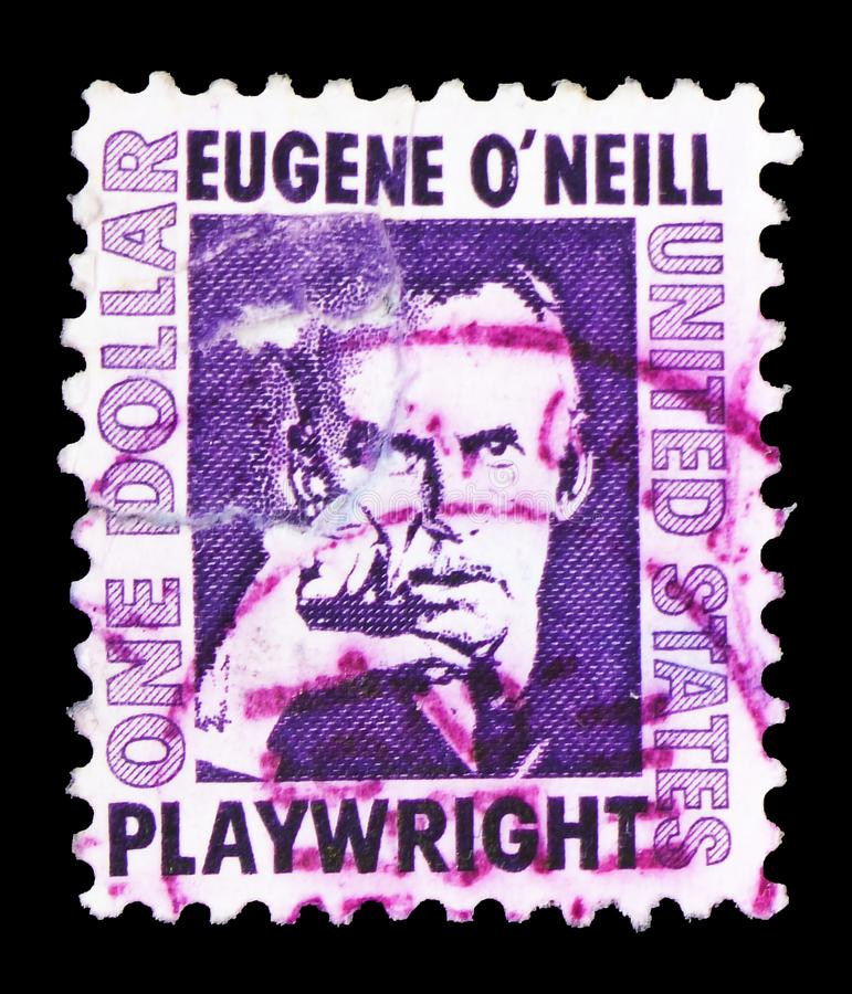 Eugene O 'Neill (188-1953), Dramatist, Famous Americans serie, circa 1967. MOSCOW, RUSSIA - FEBRUARY 10, 2019: A stamp printed in United States shows Eugene O ' stock photos