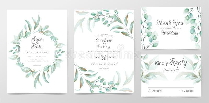 Eukalyptus Hochzeitskarten-Vorlage mit Aquarellkräutern Blätter dekorativ Grünpflanzenrahmen speichern Datum lizenzfreie abbildung
