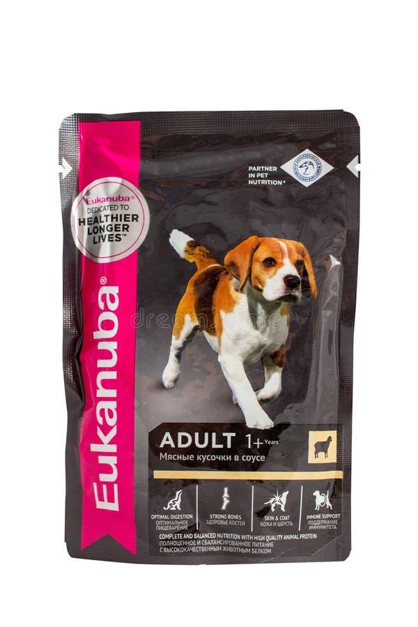 Eukanuba blir rädd ragu, påsar av hundmat fotografering för bildbyråer