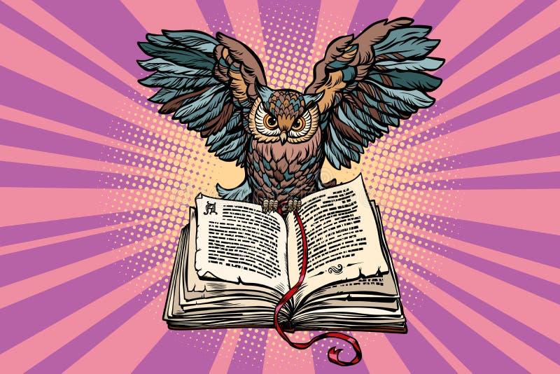 Eule auf einem alten Buch, ein Symbol von Klugheit und Wissen stock abbildung