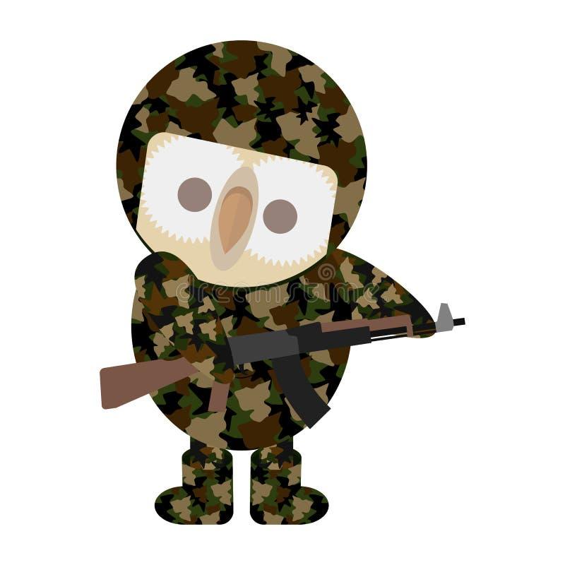 Eule in der Tarnungsmilitärkleidung für den Soldaten lizenzfreie abbildung