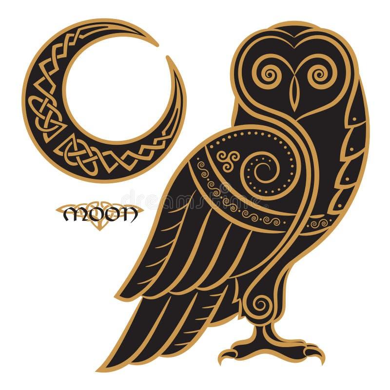 Eule von Hand gezeichnet im keltischen styl, auf dem Hintergrund der keltischen Mondverzierung vektor abbildung