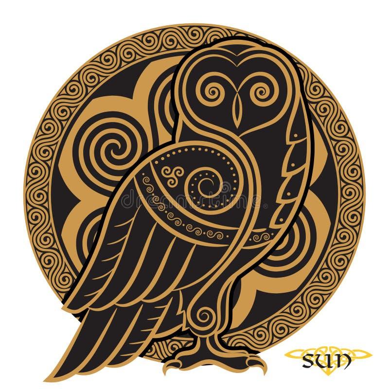 Eule von Hand gezeichnet im keltischen styl, auf dem Hintergrund der keltischen Mondverzierung lizenzfreie abbildung