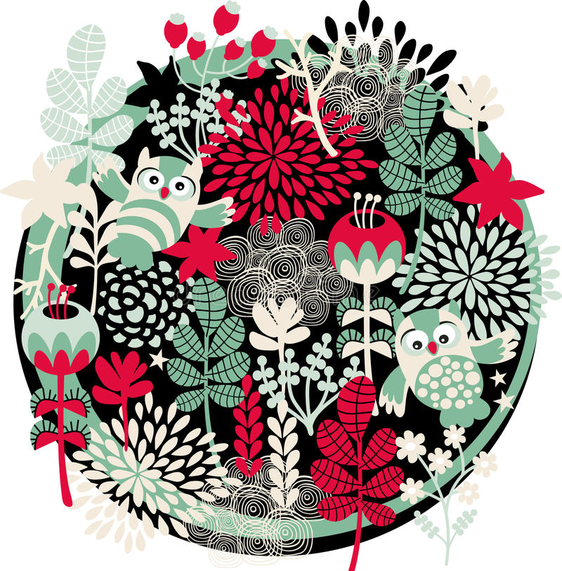 Eulen, Blumen und andere Natur. vektor abbildung