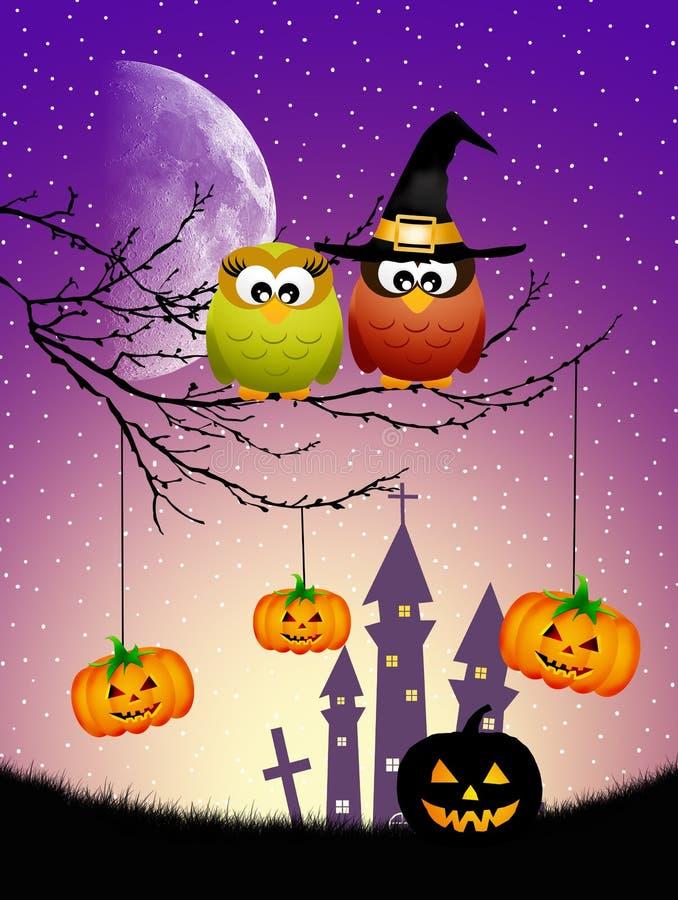 Eulen von Halloween lizenzfreie abbildung