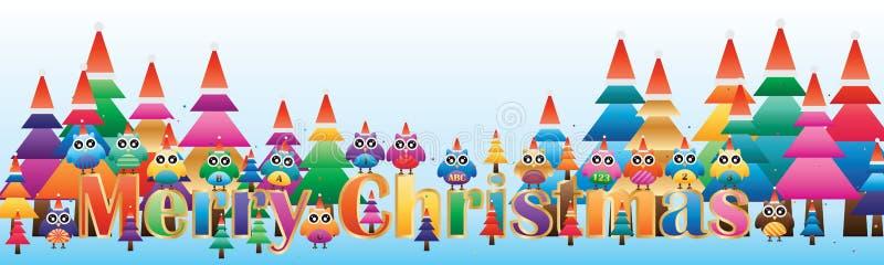 Eulenkiefer-Weihnachtsfahne lizenzfreie abbildung