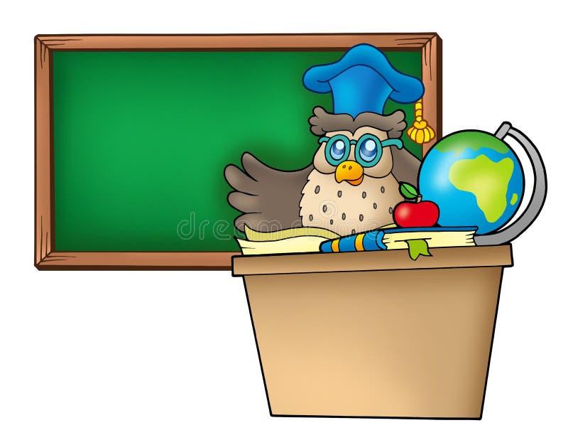 Eulenlehrer hinter Schreibtisch vektor abbildung