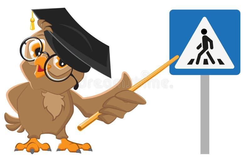 Eulenlehrer zeigt Fußgängerübergangzeichen Verkehrs-Gesetzesbildung stock abbildung
