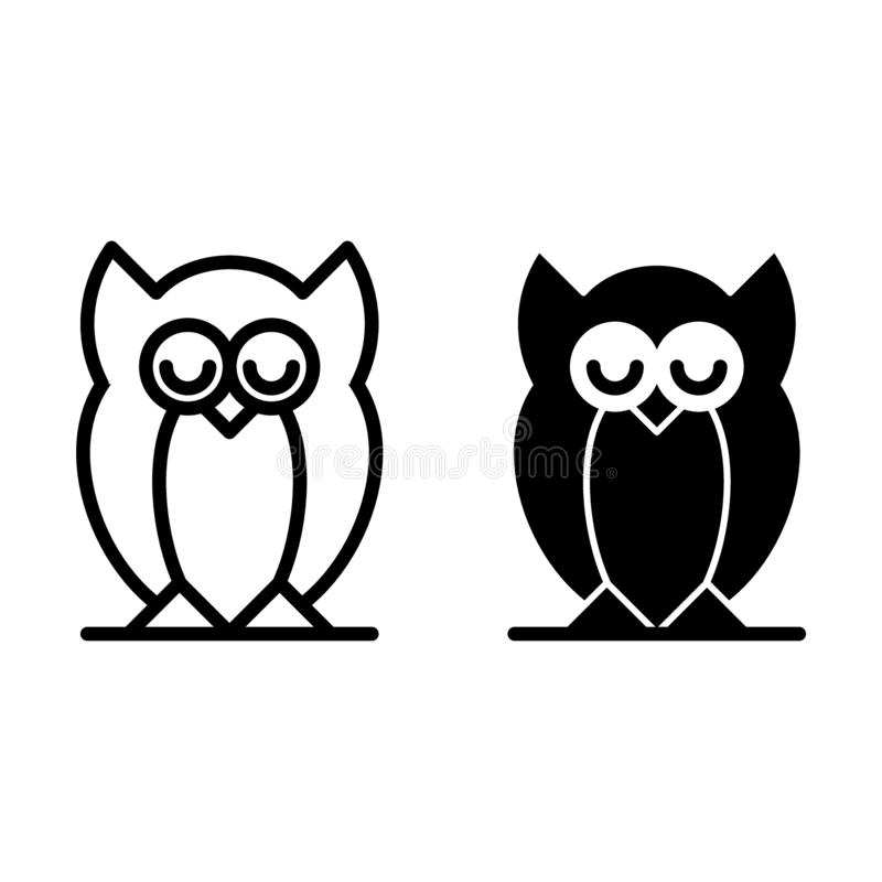 Eulenlinie und Glyphikone Vogelvektorillustration lokalisiert auf Weiß Tierentwurfsartdesign, bestimmt für Netz und stock abbildung