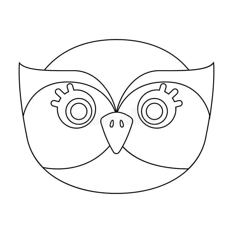 Eulenmündungsikone in der Entwurfsart lokalisiert auf weißem Hintergrund Tiermündungssymbolvorrat-Vektorillustration lizenzfreie abbildung