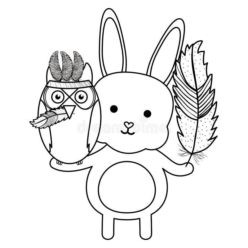 Eulenvogel und -kaninchen mit böhmischer Art der Federhüte stock abbildung