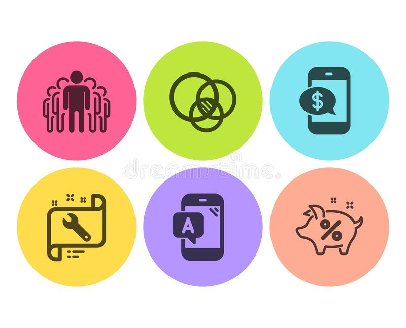 Euler diagram, Ab testowanie i telefon płatnicze ikony ustawiać, Spanner, grupy i pożyczki procentu znaki, wektor ilustracji