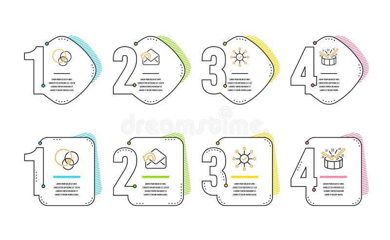 Euler diagram, Wysy?a poczty i ankieta czeka ikony ustawia? B?benu znak wektor royalty ilustracja