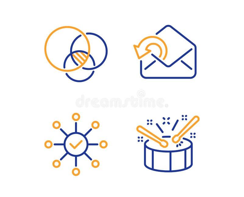 Euler diagram, Wysy?a poczty i ankieta czeka ikony ustawia? B?benu znak wektor ilustracja wektor