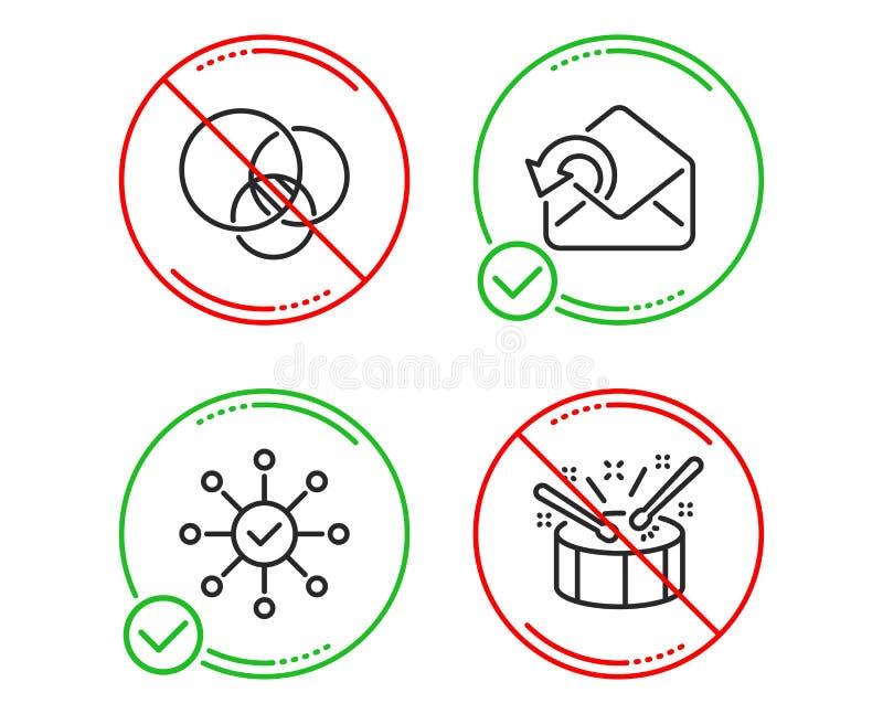 Euler diagram, Wysy?a poczty i ankieta czeka ikony ustawia? B?benu znak wektor ilustracji
