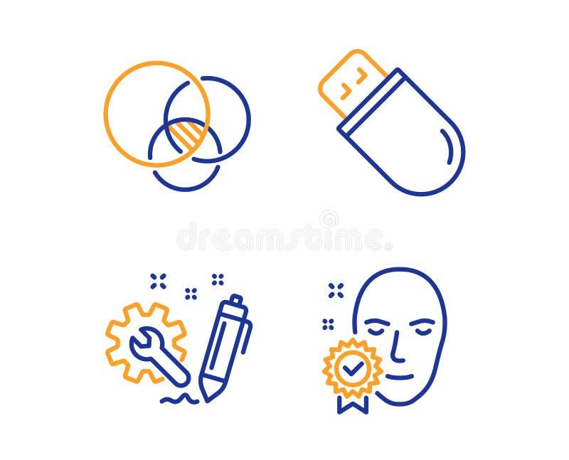 Euler diagram, in?ynieria i Usb, wtykamy ikony ustawia? Twarz weryfikowa? znak wektor ilustracja wektor