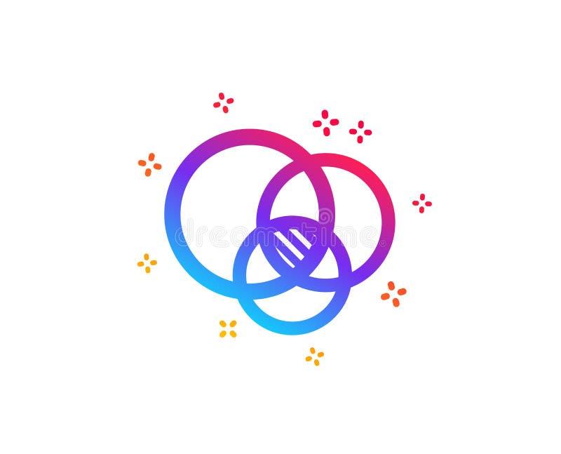 Euler diagrama ikona Eulerian okr?gu znak wektor royalty ilustracja