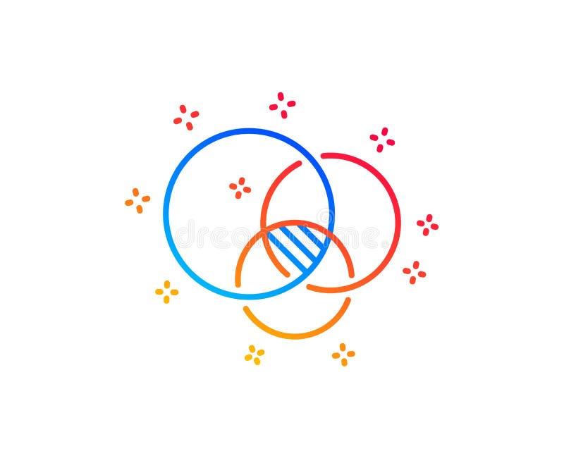 Euler diagrama linii ikona Eulerian okr?gu znak wektor royalty ilustracja