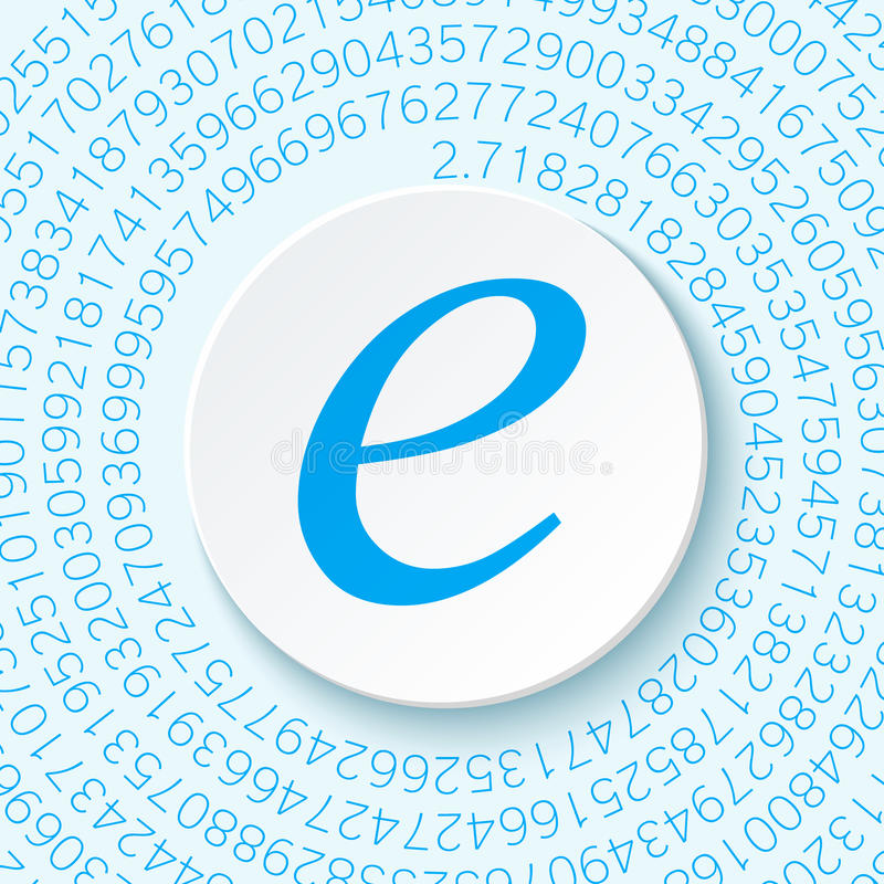 Euler ` s liczba z cieniem na cyfrowym tle Matematycznie konstanta, dziesiątkowa irracjonalistyczna liczba ilustracja wektor
