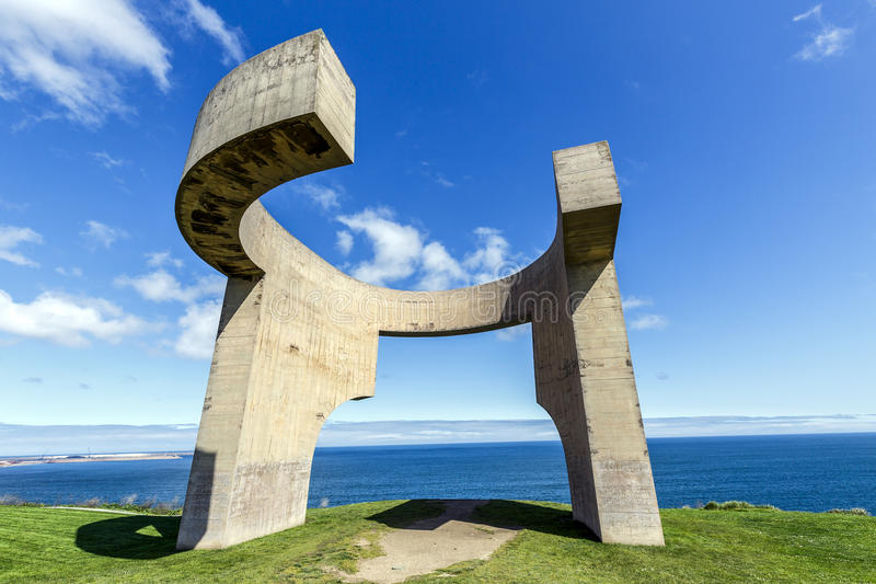 Eulogy of the Horizon in Gijon, Spain. Gijon, Spain - March 31, 2015: Eulogy of the Horizon in Gijon, Spain. Sculpture designed by Eduardo Chillida and it is royalty free stock photo