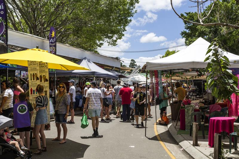 Eumundi Markets in the Sunshine Coast. Since 1979, the Eumandi Markets are a source of energy, variety, fresheness and friendliness of the town of Eumundi in the royalty free stock photos