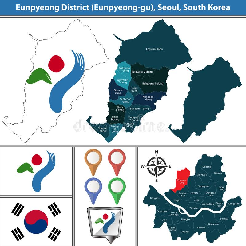 Eunpyeongdistrict, de Stad van Seoel, Zuid-Korea vector illustratie