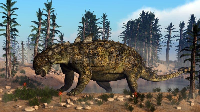 Euoplocephalus dinosaur - 3D render stock illustration