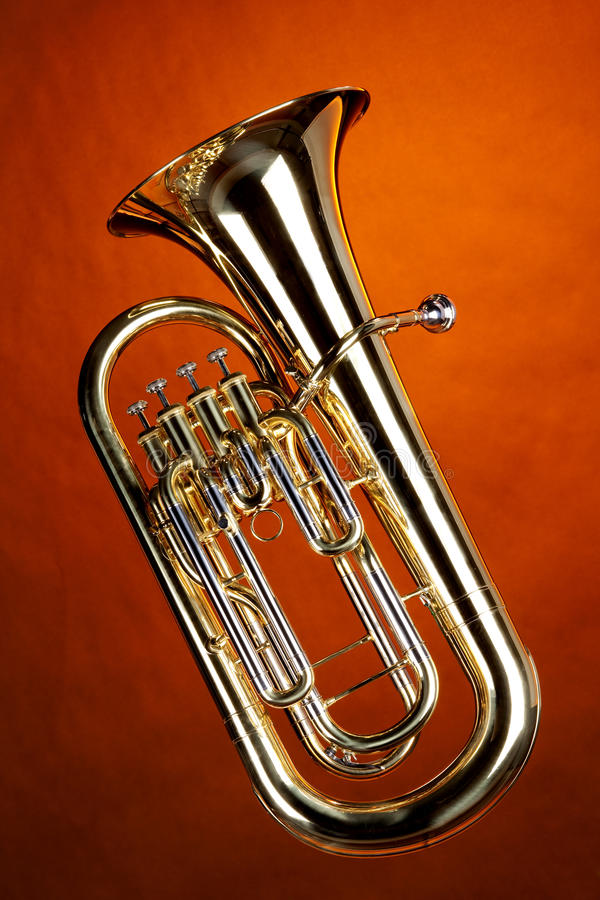 Euphonium de Tuba d'isolement sur l'or photos libres de droits